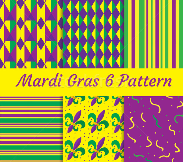 Mardi Gras seamless pattern set. Collection of digital paper, background, texture.  Stock photo © lucia_fox