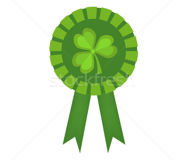 Green medal with clover, icon flat style. St. Patrick's Day symbol. Isolated on white background. Ve Stock photo © lucia_fox