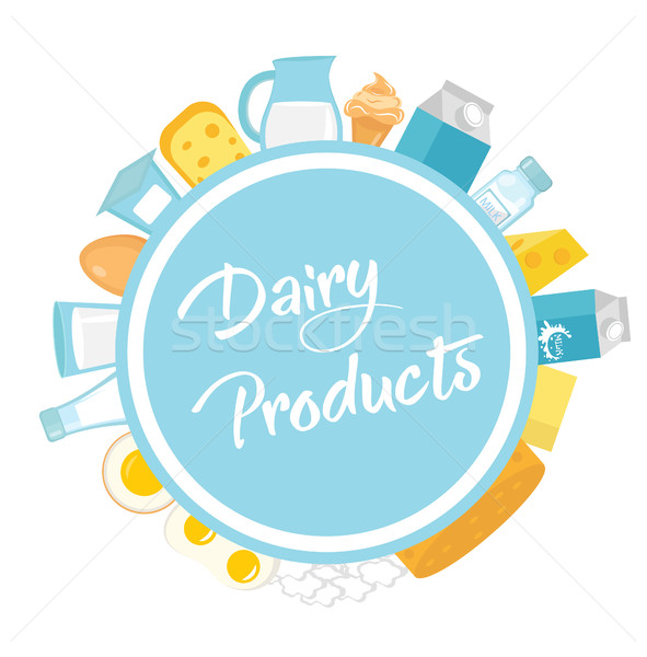 Dairy products frame. Flat style. Milk frames for text isolated on white background. Farm . Vector i Stock photo © lucia_fox