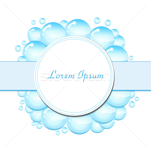 мыльные пузыри кадр текста шаблон капли воды вектора Сток-фото © lucia_fox