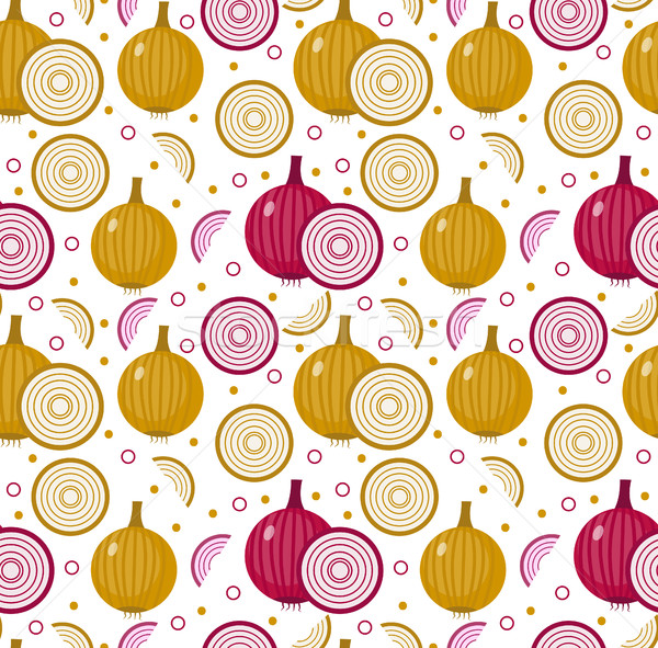 Onions seamless pattern. Bulb onion endless background, texture. Vegetable . Vector illustration Stock photo © lucia_fox