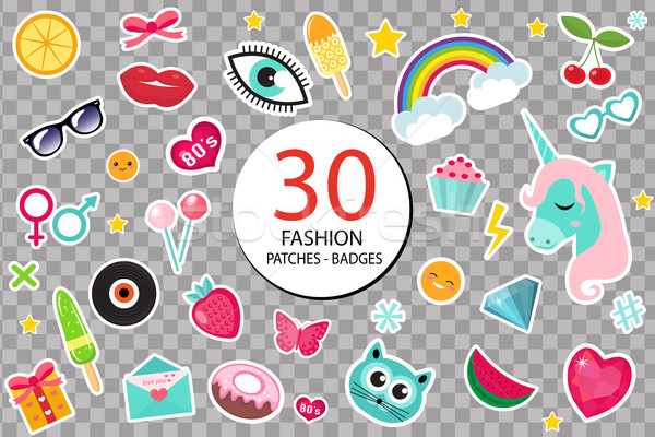 Fashion set of patches 80s comic style. Pins, badges and stickers Collection cartoon pop art with a  Stock photo © lucia_fox