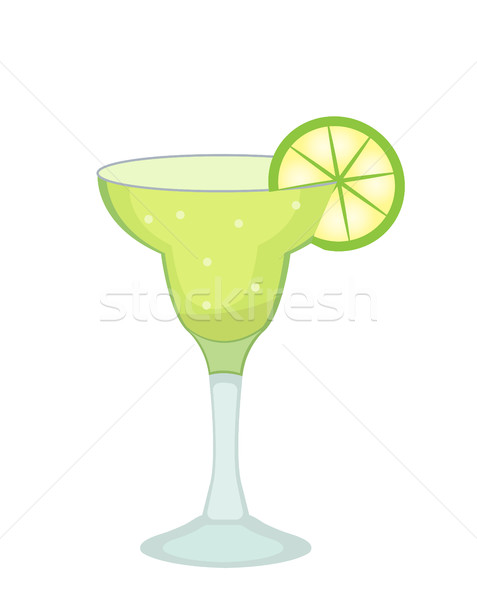 Cocktail glass for Margarita and tequila with lime slice icon flat, cartoon style. Drink isolated on Stock photo © lucia_fox