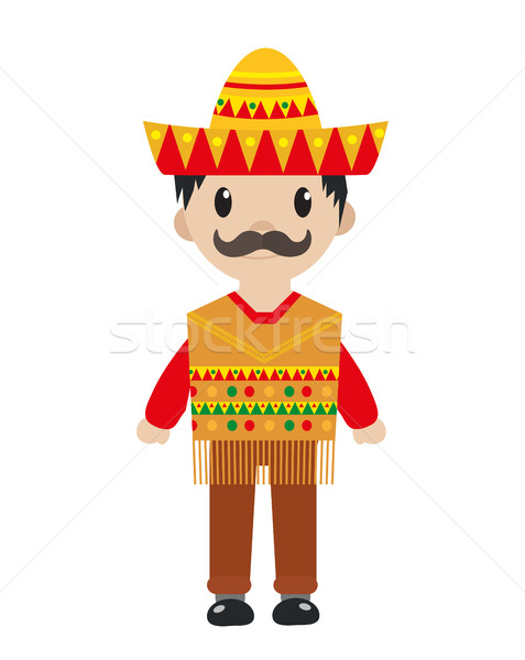 Mexican in a traditional suite icon flat, cartoon style. Man isolated on white background. Vector il Stock photo © lucia_fox