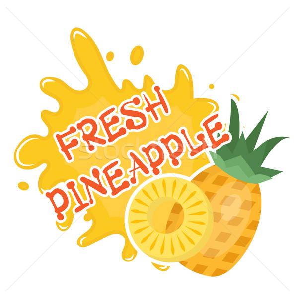 свежие ананаса всплеск икона логотип наклейку Сток-фото © lucia_fox