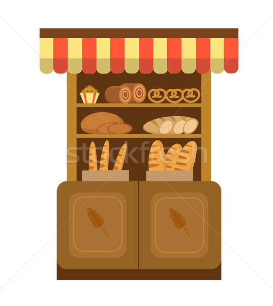 Pékség polc sütés ikon kenyér stílus Stock fotó © lucia_fox