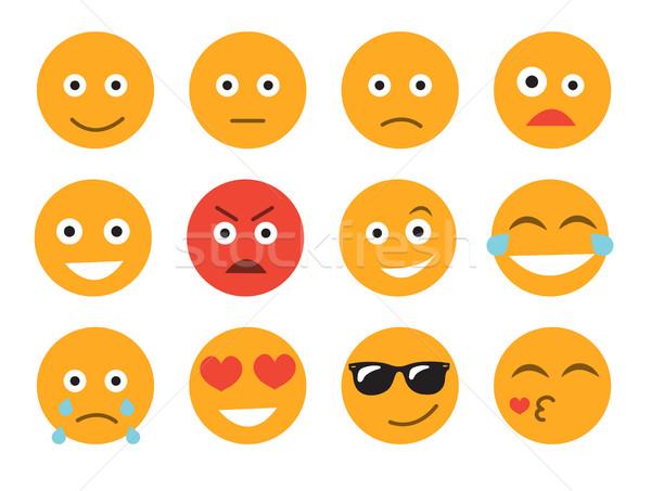 Emoticon conjunto cara branco diferente emoções Foto stock © lucia_fox