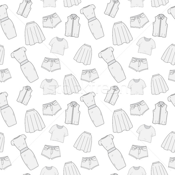 Women's Clothing  seamless pattern sketch. Clothes, hand-drawing, doodle style. Clothing, background Stock photo © lucia_fox