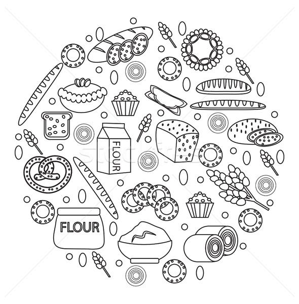 Pékség termékek ikon gyűjtemény forma vonal skicc Stock fotó © lucia_fox