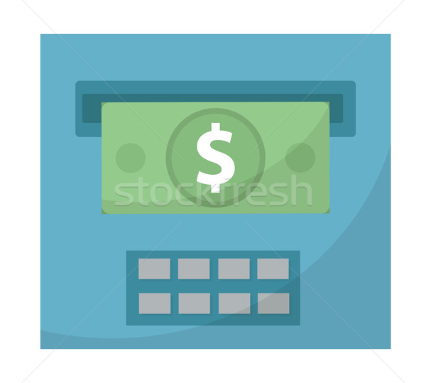 ATM gives out money icon, cashouts flat design, isolated on white background. Vector illustration, c Stock photo © lucia_fox
