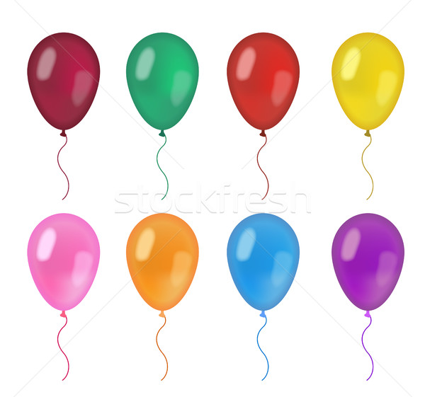 Realistic balloons set. 3d balloon different colors, isolated on white background. Vector illustrati Stock photo © lucia_fox