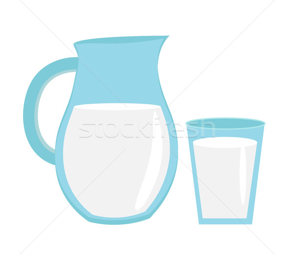 Milk in jug of glass,  with  icon flat style. Isolated on white background. Vector illustration. Stock photo © lucia_fox