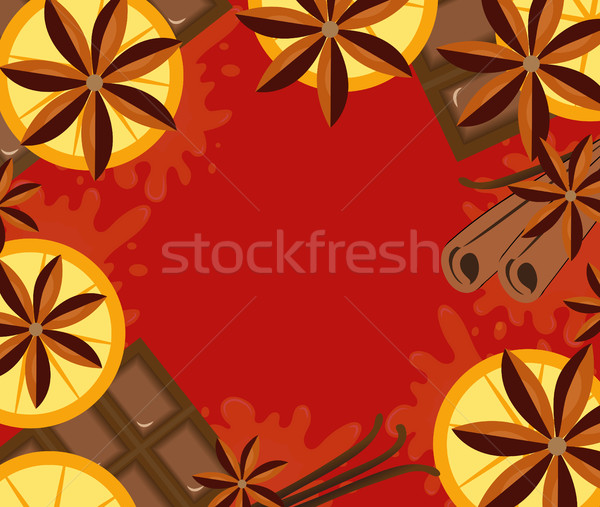 Red background with orange, cinnamon and chocolate. Mulled wine concept with space for text. Vector  Stock photo © lucia_fox
