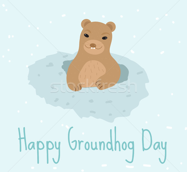 Happy Groundhog Day. Greeting card flat style. Celebration of spring. Cute, funny marmot comes out   Stock photo © lucia_fox