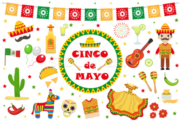 Cinco de Mayo celebration in Mexico, icons set, design element, flat style.Collection objects for Ci Stock photo © lucia_fox