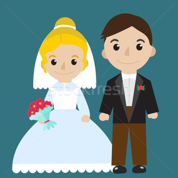 Bride and groom icon characters flat style. Wedding concept. Marriage. Vector illustration. Stock photo © lucia_fox