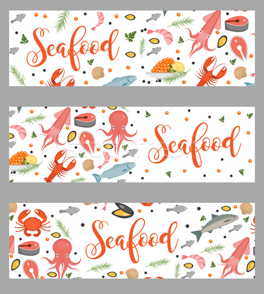 Sea food horizontal banner, flat style. Seafood template for your design. Underwater world,  life. V Stock photo © lucia_fox