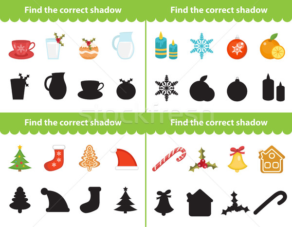 Onderwijs spel vinden corrigeren schaduw silhouet Stockfoto © lucia_fox