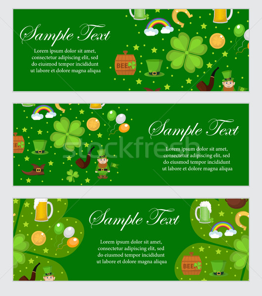 St. Patrick's Day banner template for your design. Horizontal Border set. Vector illustration. Stock photo © lucia_fox