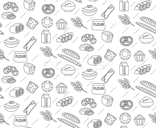 Bakery seamless pattern. Line, outline, doodle style. Bread and buns texture. Flour products endless Stock photo © lucia_fox