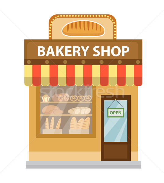 Bakery shop. Baking store building icon. Bread flat style. Showcases stores on the street. Vector il Stock photo © lucia_fox