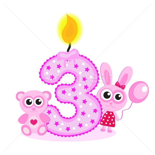Happy Third Birthday Candle and Animals Isolated on white. The number three. The pink card for girls Stock photo © lucia_fox