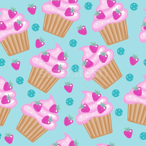 Muffinok minitorták végtelen minta finom torta textúra Stock fotó © lucia_fox