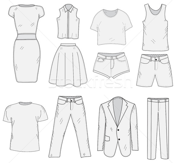 Men's and Women's Clothing set sketch. Clothes, hand-drawing, doodle style. Clothes vector illustrat Stock photo © lucia_fox