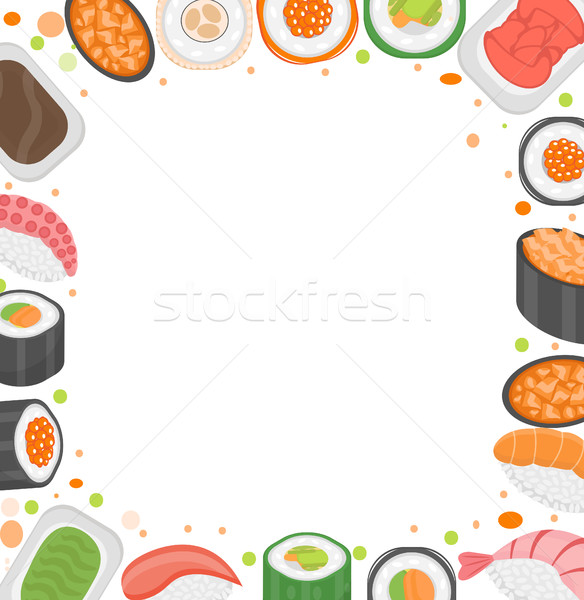Sushi frame template with space for text. Japanese cuisine isolated on white background. Vector illu Stock photo © lucia_fox