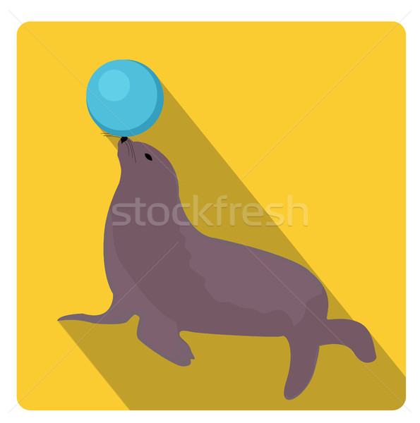 Sea lion with a ball, circus icon flat style with long shadows, isolated on white background. Vector Stock photo © lucia_fox