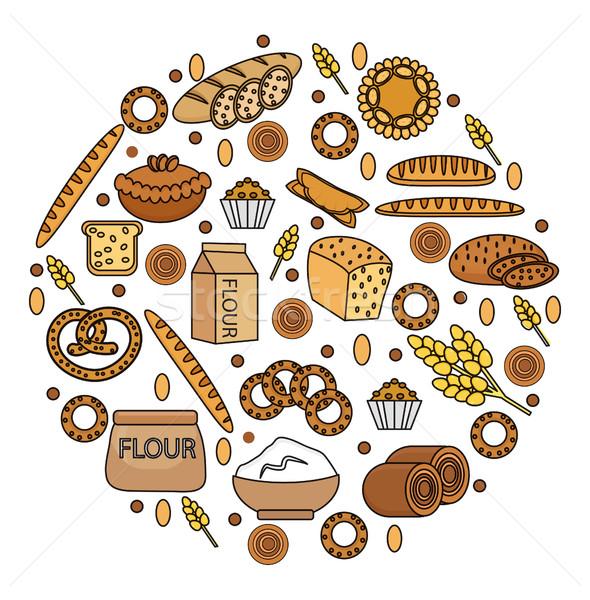 Stockfoto: Bakkerij · producten · vorm · lijn · schets