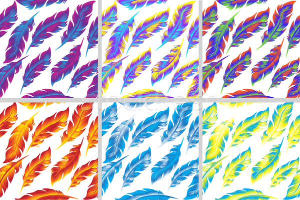Stock photo: Colorful bird feathers seamless pattern set. doodle style. Feather endless background, texture, back