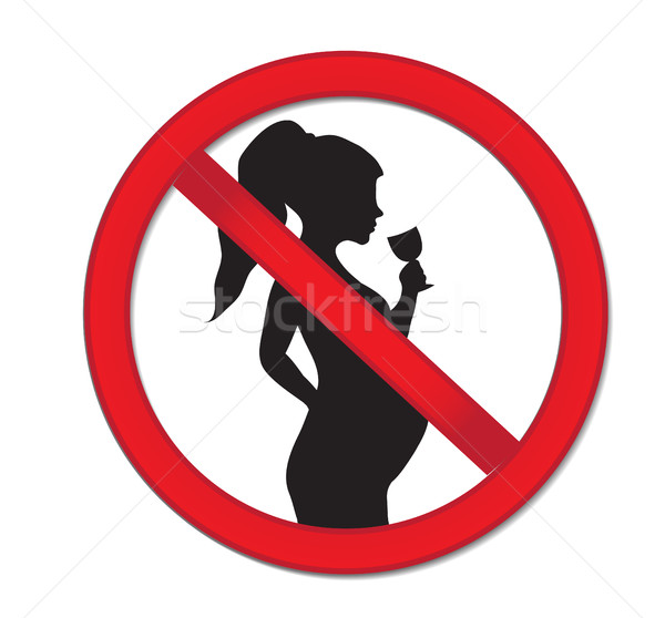 Pregnancy no drinking alcohol. Red prohibition sign-pregnant woman with a drink of wine. Stock photo © lucia_fox