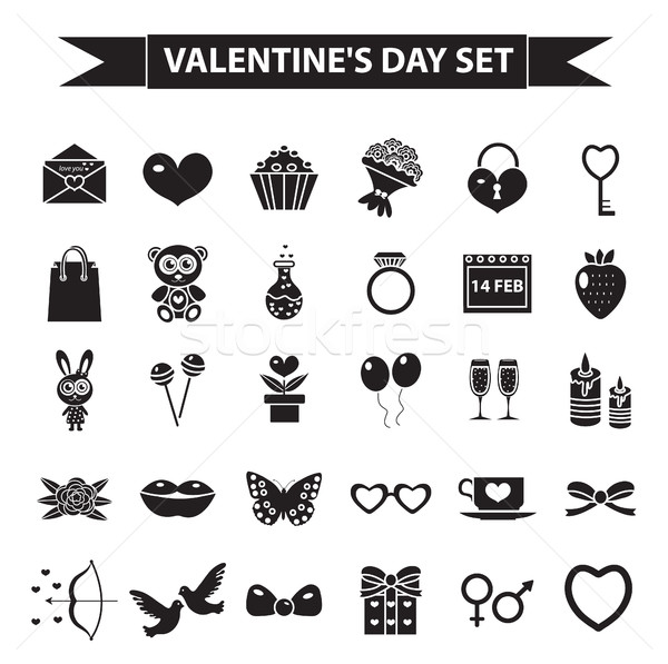 Valentines Day icon set, black silhouette style. Love, romance, wedding collection signs, symbols, i Stock photo © lucia_fox