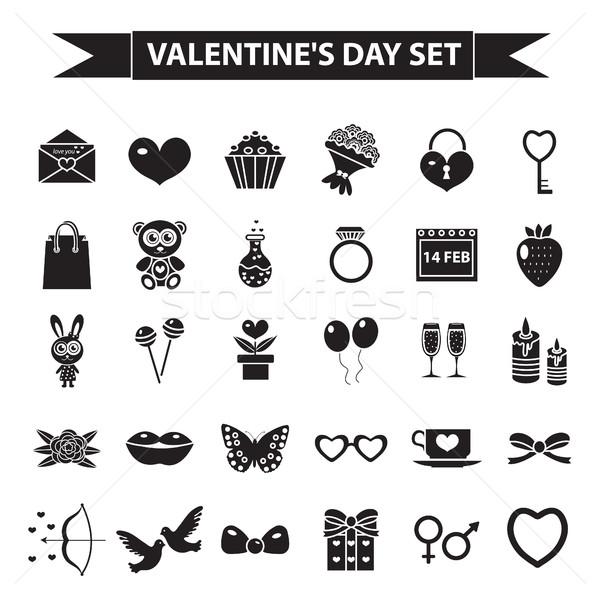 Stok fotoğraf: Sevgililer · günü · siyah · siluet · stil · sevmek