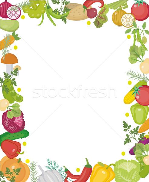 Zöldségek tér keret hely szöveg stílus Stock fotó © lucia_fox