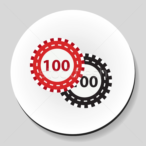Poker chips sticker icon stijl geld groene Stockfoto © lucia_fox