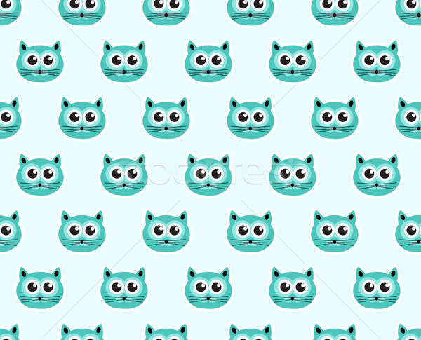 Cat seamless pattern. Fashionable modern endless background, repeating texture. Vector illustration. Stock photo © lucia_fox