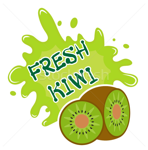 Fresh kiwi splash icon, logo, sticker. Fruit splashing isolated on white background. Vector illustra Stock photo © lucia_fox