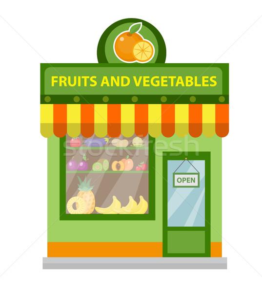 Depolamak meyve sebze alışveriş Bina yalıtılmış Stok fotoğraf © lucia_fox