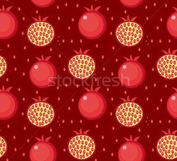 Pomegranate seamless pattern. Garnet fruit endless background, texture. Fruits. Vector illustration Stock photo © lucia_fox