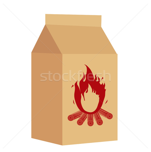 Coal in the package for BBQ icon, flat style. Isolated on white background. Vector illustration. Stock photo © lucia_fox