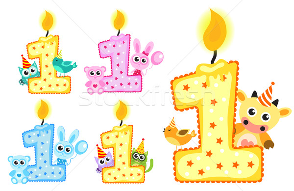 Set Happy First Birthday Candle and Animals Isolated on white background. Vector illustration Stock photo © lucia_fox