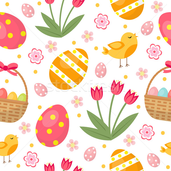 Cute Easter seamless pattern with eggs in basket, birds and flowers. Endless Spring background, text Stock photo © lucia_fox