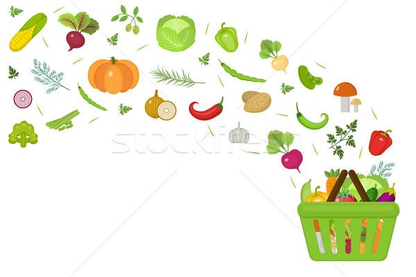 Alışveriş sepeti taze sebze dizayn afiş uzay metin Stok fotoğraf © lucia_fox
