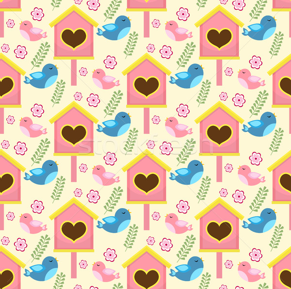Spring seamless pattern with birds and starling house. Birdhouse endless background. Gardening textu Stock photo © lucia_fox