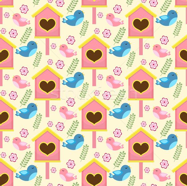 ストックフォト: 春 · 鳥 · 家 · エンドレス · ガーデニング