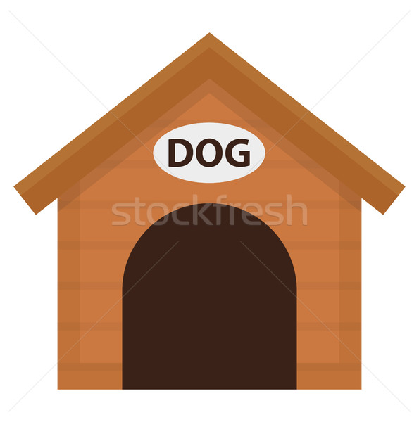 Doghouse icon, flat, cartoon style. Wooden house isolated on white background. Vector illustration,  Stock photo © lucia_fox