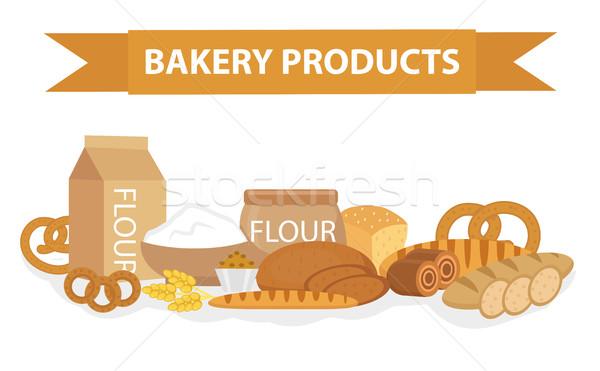 Fırın ürünleri stil ayarlamak farklı ekmek Stok fotoğraf © lucia_fox