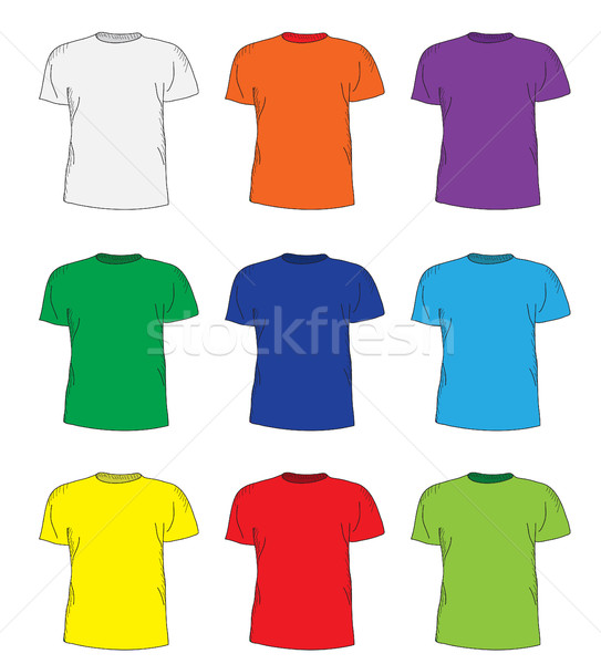 Men's t shirts design template set. Multi-colored T-shirts hand-drawing style. mockup shirts. Vector Stock photo © lucia_fox